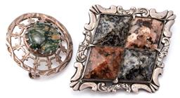 Sale 9124 - Lot 377 - TWO ANTIQUE SILVER STONE SET BROOCHES; one of lozenge shape set with 4 pyramid form agates, size 60 x 50mm, other a Celtic target fo...