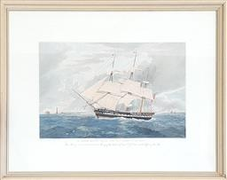 Sale 9126 - Lot 1124 - George IV/ William IV Hand-Coloured Engraving of H.M.S Winchester, after W.J Huggins, in git frame (57 x 72 cm)