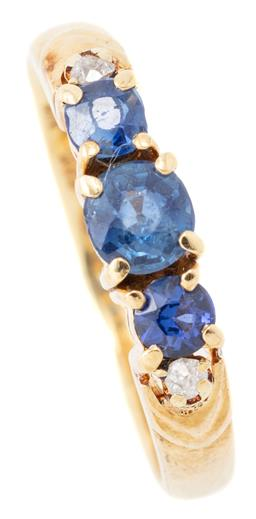 Sale 9140 - Lot 346 - A 14CT GOLD GEMSET RING; claw set with 3 round cut blue sapphires and 2 early single cut diamonds, size K, wt. 2.54g.