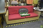 Sale 8409 - Lot 1676 - Natural Fibre Two Half Seater Sofa with Cushion Seat