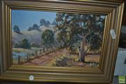 Sale 8425T - Lot 2054 - Henry Dunne - Landscape at Runnyford, NSW, 1974, oil on canvas laid on board, 14.5 x 24cm, signed and dated lower right, inscribed...