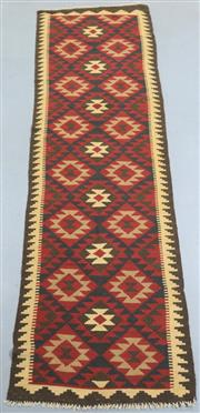 Sale 8445K - Lot 80 - Maimana Afghan Kilim Runner , 303x80cm, Handwoven in Northern Afghanistan using durable local wool. Traditional and reversible slit...