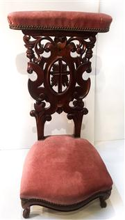 Sale 8516A - Lot 65 - A French Gothic prayer chair with monumentally intricate detail. Appears to be walnut, circa late 1800s, provenance: a church in th...