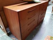 Sale 8607 - Lot 1077 - G Plan Teak 8 Drawer Chest (H: 75 W: 142 D: 44cm)