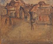 Sale 8759 - Lot 2024 - Laurence Hope (1928 - ) - Street Scene, 1949 33.5 x 36.5cm (frame)