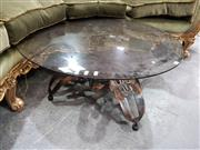 Sale 8787 - Lot 1099 - Metal Base Table With Smoky Glass Top