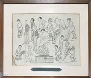 Sale 8863S - Lot 2 - The Australian Cricket Team That Won The Ashes Caricature Print for the 5-0 defeat of England, 1920-21