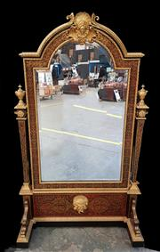 Sale 8956 - Lot 1058 - Fine 19th Century Louis XIV Style Ebonised Boulle Cheval Mirror, profusely inlaid with brass & gilt mounts, the broken arch top mirr...