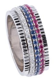 Sale 9054J - Lot 176 - AN 18CT WHITE GOLD FULL HOOP GEMSET TRI RING; 7.4mm wide textured band set with 3 full hoop spinning bands each set with round brill...