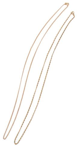 Sale 9132 - Lot 468 - A 9CT GOLD CHAIN; 1.5mm wide filed curb link chain to bolt ring clasp with Italian hallmarks, length 58cm, wt. 3.69g,  together with...