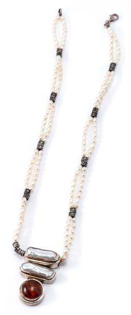 Sale 9169 - Lot 323 - A SILVER PEARL AND AMBER NECKLACE; double strand cultured freshwater pearl necklace with silver rondels and lobster claw clasp attac...