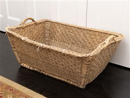 Sale 9248H - Lot 243 - A large two handled wicker laundry basket. 84 x 60x 30