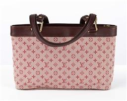 Sale 9250F - Lot 49 - A Louis Vuitton hand bag with classic LV print in burgundy and pink, with gold hardware, tag no. SR0053, Height 22cm.
