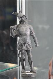 Sale 7998 - Lot 11 - Late 19th Century Pewter Figure of Renaissance knight in Dragon Armour a.f