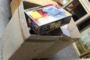 Sale 8139 - Lot 2367 - 2 Boxes of Motorbike Helmets, Tools, Bike Cover, Work Bench etc