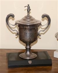 Sale 8171A - Lot 44 - A C19th style silver plated trophy cup, modelled with a hardwood plinth, overall H 50.5cm