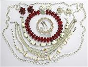 Sale 8196F - Lot 303 - VINTAGE CRYSTAL AND GLASS BEAD NECKLACES AND EARRINGS; 4 pairs of clip and screw earrings, 5 necklaces and a bracelet.