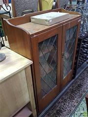 Sale 8566 - Lot 1693 - Timber Display Cabinet with Leadlight Astragal Panel Doors - Partly Damaged