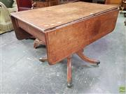 Sale 8634 - Lot 1021 - Regency Mahogany Pembroke Table, with drop leaves, fitted drawer & turned pedestal with outswept legs