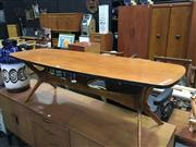 Sale 8643 - Lot 1127 - Vintage Coffee Table on Stretcher Base
