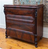 Sale 8735 - Lot 6 - A 19th century mahogany continental fall front secretaire Height 104cm x W 106cm x  D 54cm