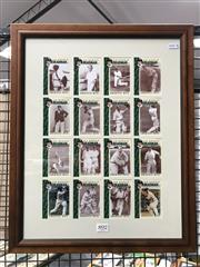 Sale 8805A - Lot 892 - Sir Donald Bradmans Greatest Hits. Sixteen cards, with one signed, and neatly framed to reveal reverse as well.