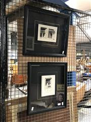 Sale 8836 - Lot 2071 - Rebecca Lawstone ? (2 works) Classical Architecture mixed media on paper, each 39 x 33cm (frame size) -