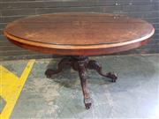 Sale 8956 - Lot 1028 - A Good Victorian Burr Walnut and Marquetry Loo Table on a carved pedestal base - damage to veneer top (H:74 x W:105 x D:76cm)