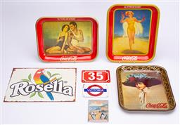 Sale 9185E - Lot 187 - A collection of metal signs and trays, including coca cola, rosella, peters