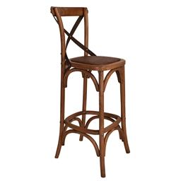 Sale 9250T - Lot 22 - A set of 2 solid oak cross back bar stools with aged textured dark metal straps. Height 110cm x Width 45cm x Depth 45cm