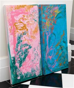 Sale 9248H - Lot 241 - A pair of modern unframed acrylic on canvas abstract paintings. each 72 x 36cm
