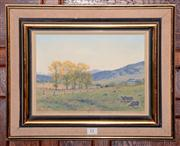 Sale 8015A - Lot 11 - SIDNEY WOODWARD-SMITH (1904 - 1972) - Autumn Landscape Near Queanbeyan 22 x 29cm