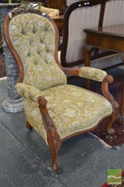 Sale 8282 - Lot 1096 - Two Victorian Carved Walnut Armchairs, with buttoned velvet upholstery on cabriole legs.