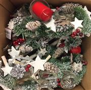 Sale 8310A - Lot 357 - Two boxes of Christmas candle centrepieces, together with a plush Santa and reindeer pillow