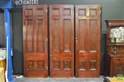 Sale 8338 - Lot 1124 - Set of Three Early Timber Architectural Concertina Doors