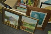 Sale 8425T - Lot 2043 - Collection of Various Artworks Including: Landscape Painting, Junket Painting, Tapestry and Banksy Print