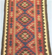 Sale 8445K - Lot 82 - Maimana Afghan Kilim Runner , 379x80cm, Handwoven in Northern Afghanistan using durable local wool. Traditional and reversible slit...