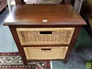 Sale 8550 - Lot 1469 - Timber and Wicker 2 Drawer Bedside