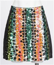 Sale 8640F - Lot 102 - An Emma Mulholland black leather skirt with sequin panel to front, size 10.
