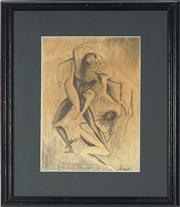 Sale 8794 - Lot 2097 - Artist Unknown - Entwined pencil drawing, 29 x 19cm, signed lower right -