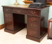 Sale 8795A - Lot 63 - An antique Georgian style Edwardian double pedestal 9 drawer desk C: 1910. The 3 part desk with an olive green gilt tooled leather t...