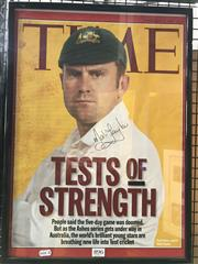 Sale 8805A - Lot 896 - Mark Taylor, on Time Magazine cover banner, signed and framed.
