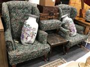 Sale 8863 - Lot 1076 - Pair of Fabric Upholstered Wingback Chairs & Footstools (4)