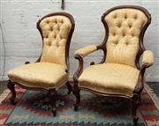 Sale 8942H - Lot 55 - A pair of Victorian carved walnut gents and ladies chairs upholstered in gold buttoned fabric, Height of gent 101cm