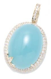 Sale 9054J - Lot 161 - A LARGE AQUAMARINE AND DIAMOND ENHANCER PENDANT; featuring an oval cabochon aquamarine of 31.75ct set in a 9ct gold frame and bale s...