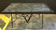 Sale 8996 - Lot 1041 - Glass Top Table with Wrought Iron Base (h:85 x l:150 x w:91cm)