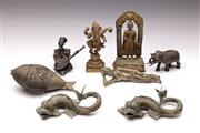 Sale 9078 - Lot 96 - A Collection of Mostly Asian Metal Wares inc Bronze and Brass, Ganesh, Deity and Zoomorphic Figures
