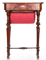 Sale 9080J - Lot 70 - Late 19th Century Continental Inlaid Walnut Sewing Table,  with hinged cross-banded top enclosing dividers, above a fabric covered b...