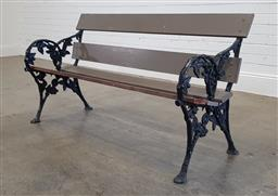 Sale 9174 - Lot 1405 - Timber and metal garden bench (h:74 x w:137 x d:45cm)