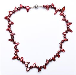 Sale 9190 - Lot 42 - A burgundy coloured pearl necklace